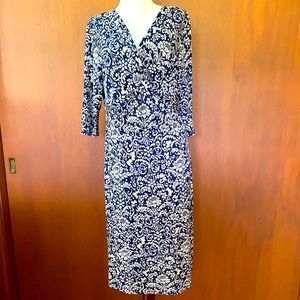 TravelSmith navy and cream patterned dress